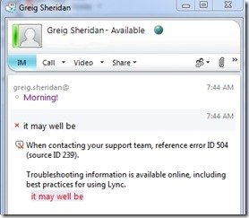 Decoding Lync's Client-Side Error Messages | greiginsydney com