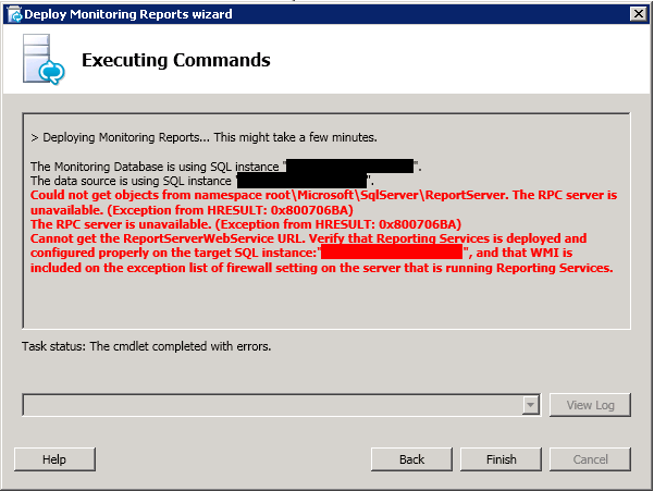 RPC or Timeout Errors when deploying Lync 2013 Reports